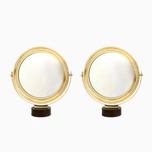 Italian Brass Frame Vanity Mirrors by Sergio Mazza, 1960s, Set of 2