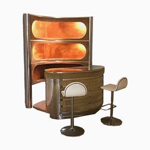 Bar mit beleuchteten Ablagen & 2 Hockern, 1970er