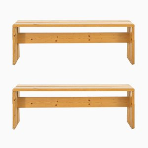 Mid-Century Les Arcs Pine Benches by Charlotte Perriand, Set of 2