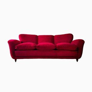 Italian Red Velvet Sofa, 1950s