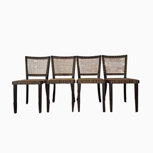 Czech Modernist Wood & Rope Chairs by Jan Vanek for Moderniho Bydleni, 1937, Set of 4