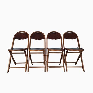 Folding Chairs in Mahogany and Structured Veneer, 1900s, Set of 4