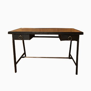 Vintage Leather Desk by Jacques Adnet