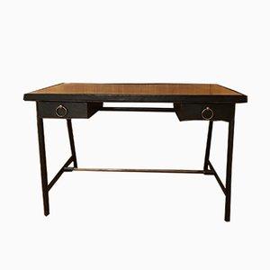Vintage Leder Schreibtisch von Jacques Adnet