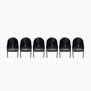 Italienische schwarze Coste Stühle von Phillipe Starck für Driade, 1980er, 6er Set
