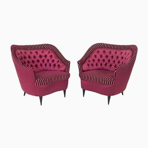 Vintage Dark Red Club Chairs, 1940s, Set of 2