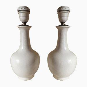 Kraquelle Keramik Tischlampen, 1970er, 2er Set