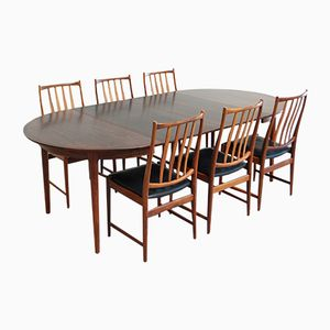 Darby Rosewood Dining Table with 6 Chairs by Torbjorn Afdal for Bruksbo, 1960s