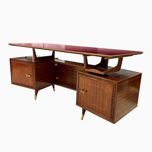 Italienischer Mid-Century Mahagoni Schreibtisch von La Permanente Mobili Cantù, 1950er