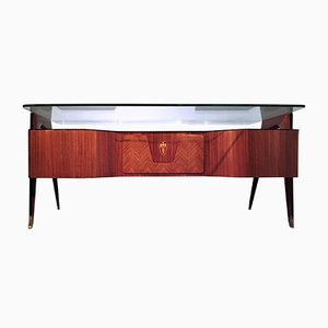 Mid-Century Italian Rosewood Executive Desk with Floating Glass Top by Vittorio Dassi, 1950s