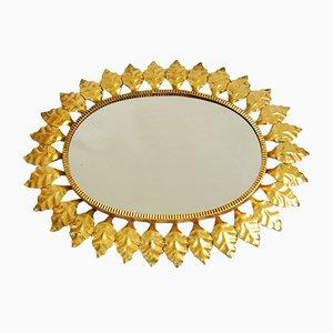 Specchio in ottone con foglie dorate, Francia, anni '40