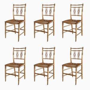 19th Century Faux Bamboo Chairs, Set of 6