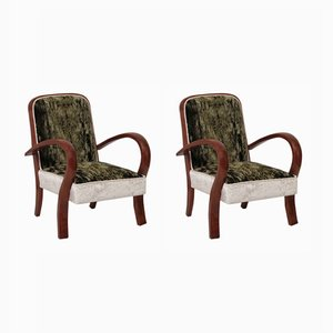 Art Deco Cherry & Velvet Armchairs, 1940s, Set of 2