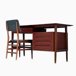 Italienischer Teak Schreibtisch mit Stuhl von Edmondo Palutarifor für Dassi Lissone, 1950er
