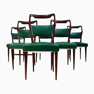 Mid-Century Italian Mahogany Dining Chairs by Vittorio Dassi, 1950s, Set of 6