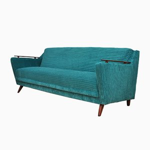 Mid-Century Turquoise Sofa Bed, 1960s