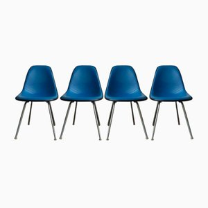 Black Fiberglass DSX Chairs with H Bases by Charles & Ray Eames for Herman Miller, 1970s, Set of 4
