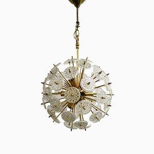 Messing & Kristallglas Sputnik Kronleuchter von Val Saint Lambert, 1950er