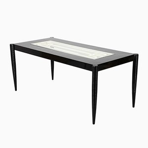 Mid-Century Italian Dining Table in Lacquered Black Wood, 1950s
