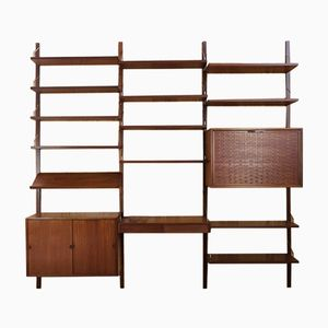 Mid-Century Royal Wall System in Teak & Brass by Poul Cadovius