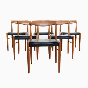 Vintage Teak & Skai Stühle von HW Klein für Bramin, 6er Set
