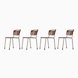 Chaises d'Ecole Th. Delft par Willem Hendrik Gispen, 1950s, Set de 4