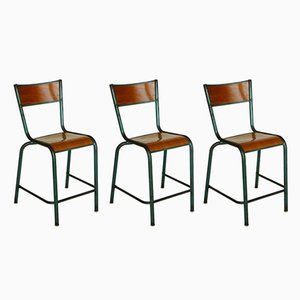 Vintage Industrial Chairs by Jean Prouvé, Set of 3