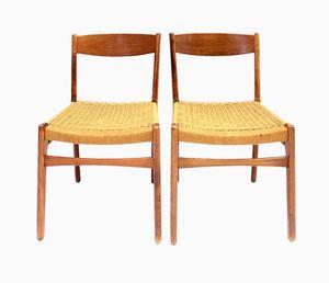 Schwedische Teak Stühle mit geflochtenen Sitzen, 1960er, 2er Set
