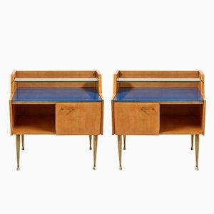 Italian Bedside Tables on Brass Legs, 1950s, Set of 2
