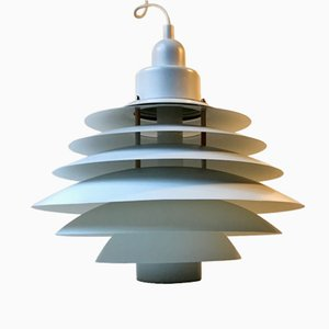 Vintage Danish White Tiered Pendant Lamp from Design-Light, 1970s