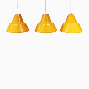 Yellow Workshop Pendants from Louis Poulsen, 1960s, Set of 3