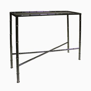 Faux Bamboo & Chrome Console Table, 1960s