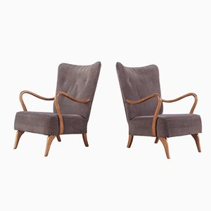 Mahogany Easy Chairs, 1950s, Set of 2