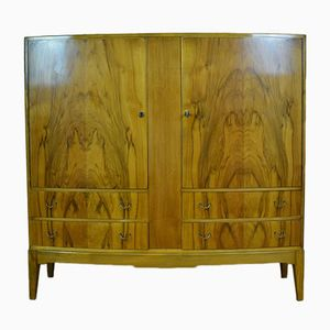 Curved Walnut Cabinet with 4 Drawers, 1940s