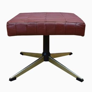 Mid-Century Danish Red Leather Swivel Footstool, 1970s