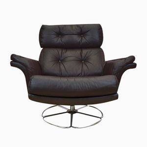 Swivel Lounge Chair in Brown Leather, 1970s