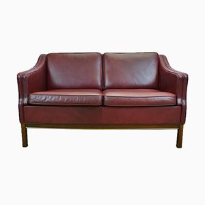 2-Seater Burgundy Leather Sofa, 1970s