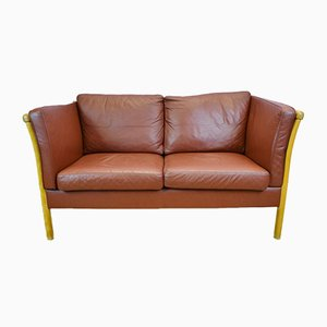 2-Seater Tan Leather Sofa from Stouby, 1980s