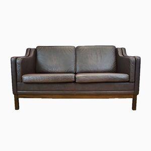 Braunes 2-Sitzer Leder Sofa von Mogens Hansen, 1970er