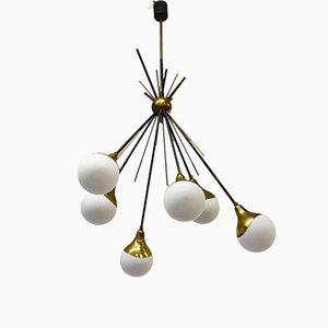 Italian Brass & Glass Chandelier from Stilnovo, 1950s