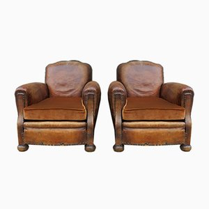 Art Deco Studded Leather Club Chairs, 1930s, Set of 2