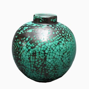 Französische runde Keramik Vase von Primavera für C. A. B., 1930er