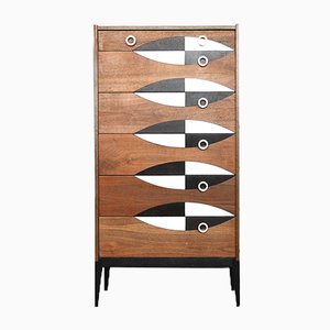 Tall Vintage Walnut Cabinet with Pattern, 1960s