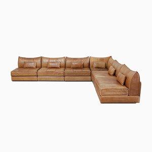 Modulares cognacfarbenes vintage DS 19 Leder Sofa von de Sede