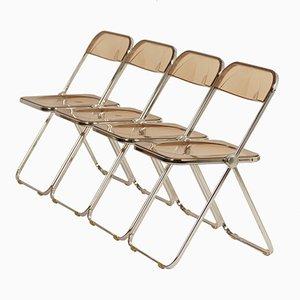 Plia Folding Chairs by Giancarlo Piretti for Castelli, 1960s, Set of 4