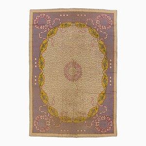 Handgeknüpfter europäischer Woll Teppich in hellem Violett & Grau, 1920er