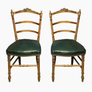 Antique French Chairs with Green Leather Seats, Set of 2