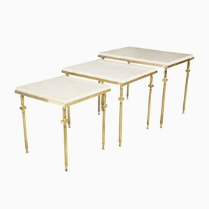 Vintage Nesting Tables in Brass & White Marble