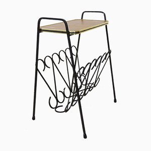 Wrought Iron & Wood Side Table with Magazine Rack, 1950s