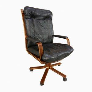 Chaise de Bureau Pivotante en Cuir & Bois